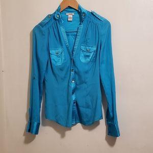 Vintage Cache Silk Blue Button Up Long Sleeve XS Shirt